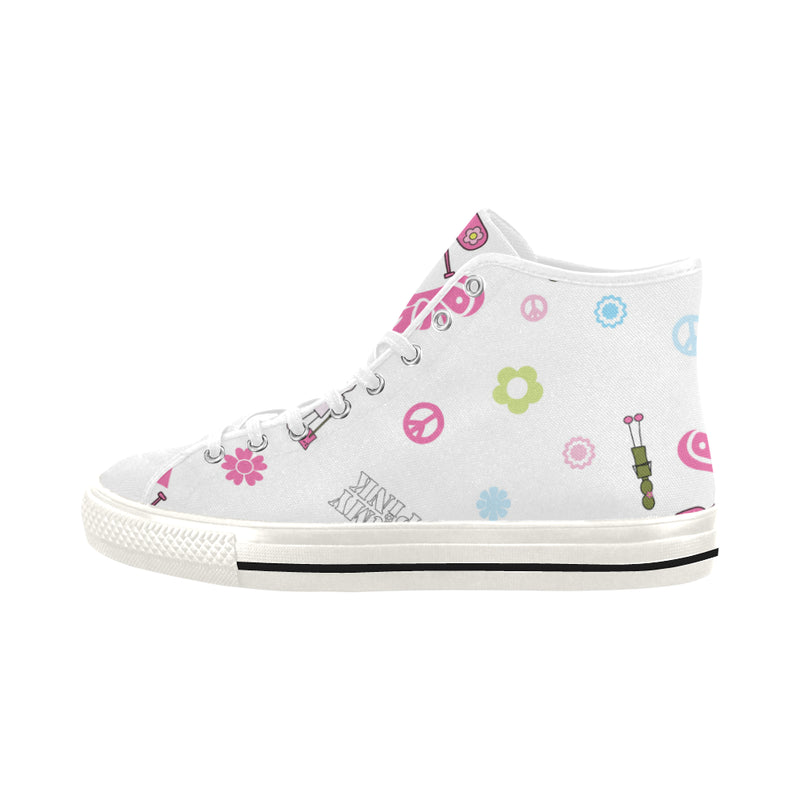 White Logo Print Hi Top Canvas Shoes for 49.00 at ARMY PINK