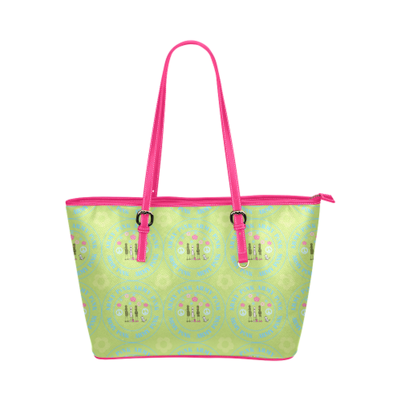 Logo print on green Leather Tote Bag/Small (Model 1651) for  at ARMY PINK