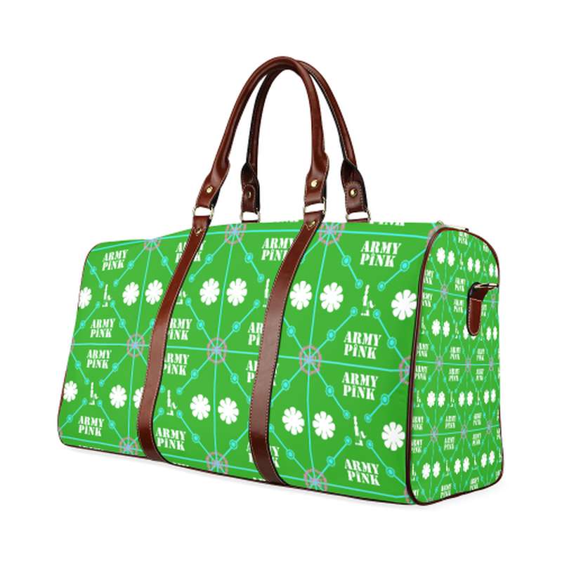 large travel bag diamond aop on green Waterproof Travel Bag/Large (Model 1639) for  at ARMY PINK