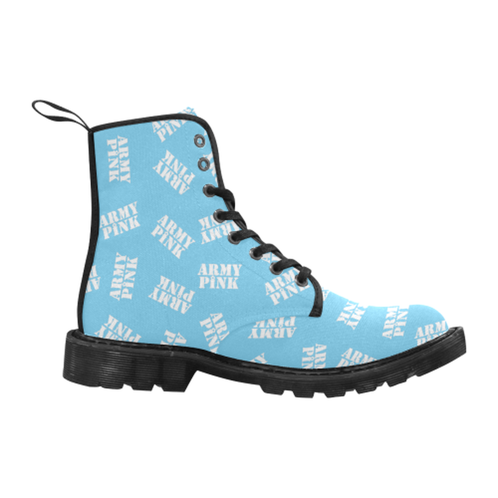 White stamps blue Boots for 60.00 at ARMY PINK