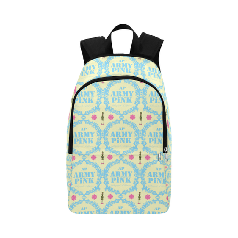 Blue wreaths on cream Fabric Backpack ${product-type) ${shop-name)