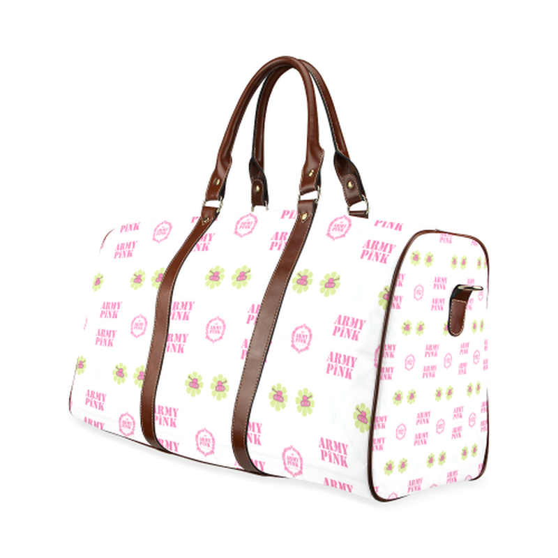 small travel bag white aop3 on white Waterproof Travel Bag/Small (Model 1639) for  at ARMY PINK