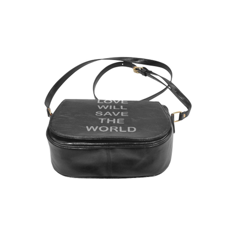 Love will save in gray on black Classic Saddle Bag/Small (Model 1648) for  at ARMY PINK
