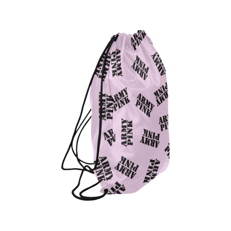 "Black stamps on violet Medium Drawstring Bag Model 1604 (Twin Sides) 13.8""(W) * 18.1""(H) for  at ARMY PINK"