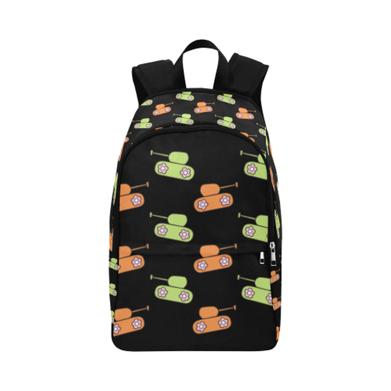 Green and orange tanks on black Fabric Backpack for Adult (Model 1659) for  at ARMY PINK