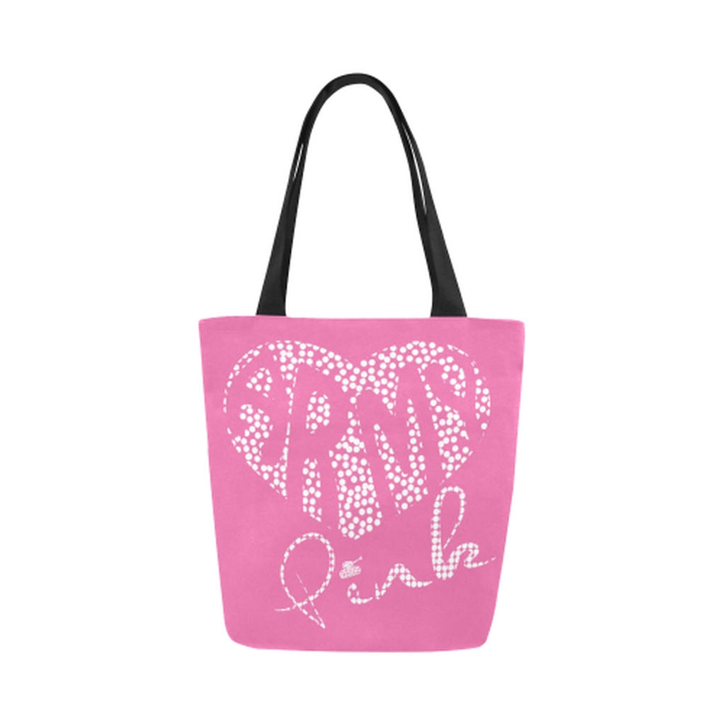 Pink dot heart Canvas Tote Bag ${product-type) ${shop-name)
