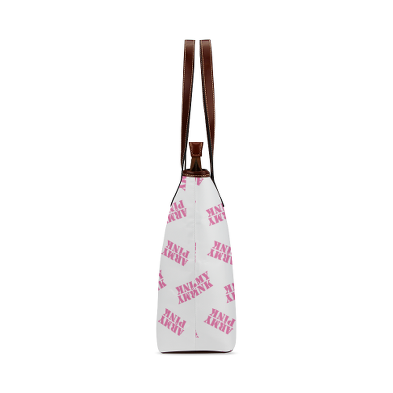 Pink stamps on white Shoulder Tote Bag (Model 1646) ${product-type) ${shop-name)