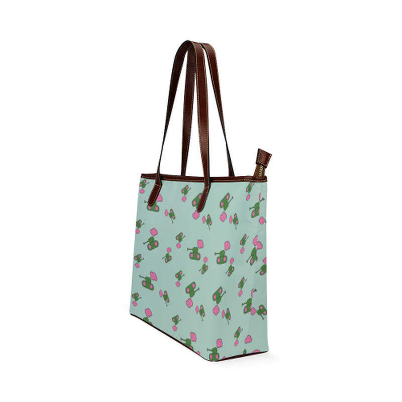 Tanks and clouds on mint Shoulder Tote Bag (Model 1646) for  at ARMY PINK