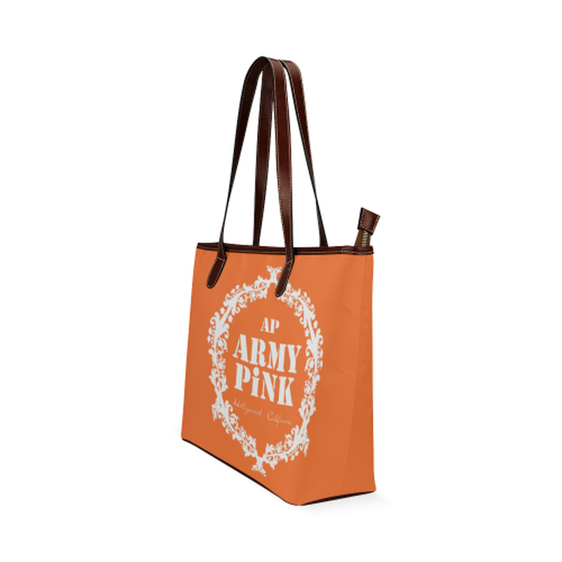 shoulder tote white wreath on orange Shoulder Tote Bag (Model 1646) for  at ARMY PINK