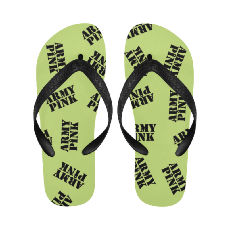 Black stamp green Flip Flops for 16.00 at ARMY PINK