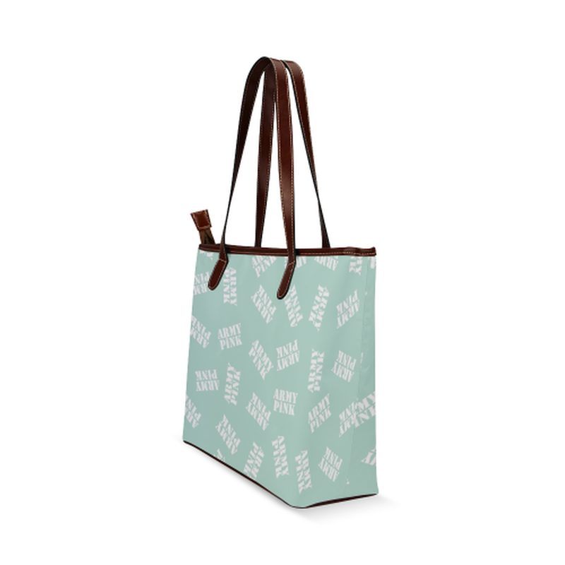 White stamps on mint Shoulder Tote Bag (Model 1646) ${product-type) ${shop-name)