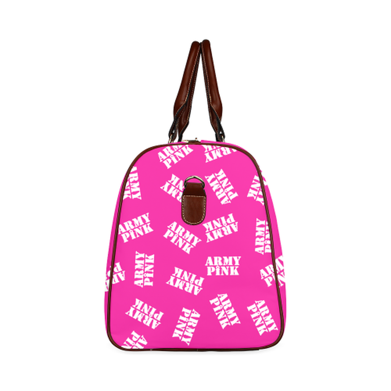 large travel bag in pink with white army pink stamp Waterproof Travel Bag/Large (Model 1639) for  at ARMY PINK
