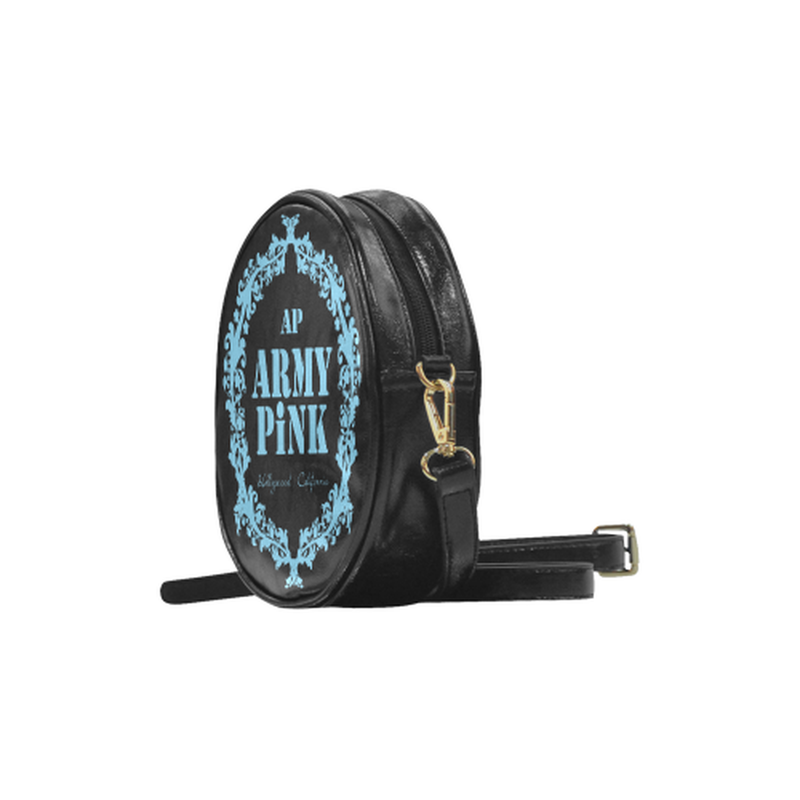 sling bright blue wreath Round Sling Bag (Model 1647) for  at ARMY PINK