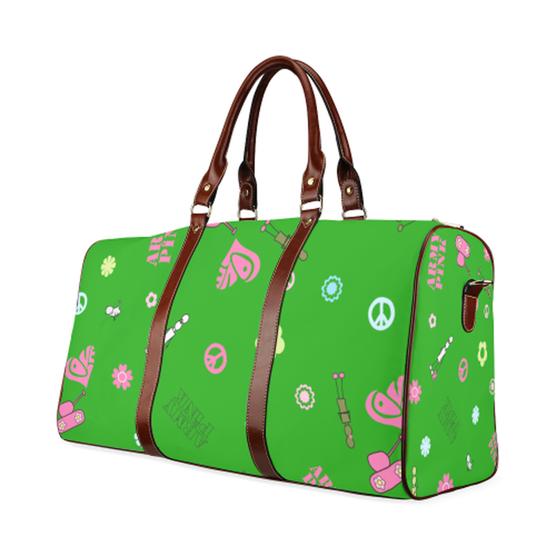 large travel bag logo aop on green Waterproof Travel Bag/Large (Model 1639) for  at ARMY PINK