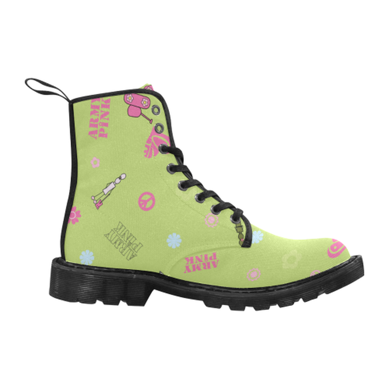 Logo print green Boots for 60.00 at ARMY PINK