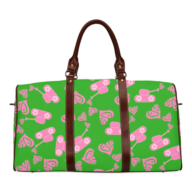 small travel bag pink love tank on green Waterproof Travel Bag/Large (Model 1639) for  at ARMY PINK