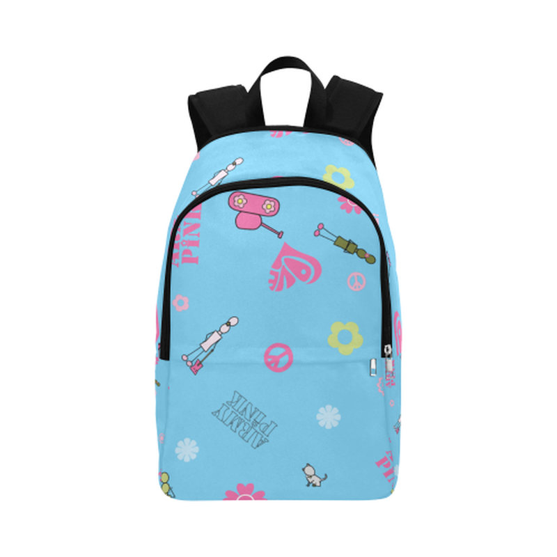 Blue logo print Fabric Backpack ${product-type) ${shop-name)