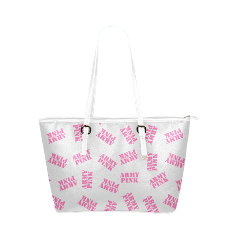 Pink stamps on white Leather Tote Bag/Small (Model 1651) ${product-type) ${shop-name)