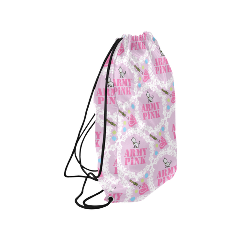 Pink white wreath Drawstring Bag for  at ARMY PINK