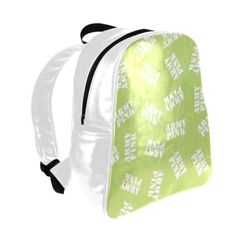 White stamps on green Multi-Pockets Backpack for  at ARMY PINK