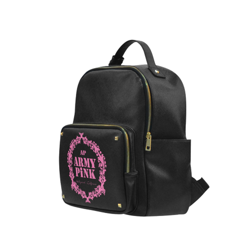 Pink wreath on black Campus backpack/Small (Model 1650) for  at ARMY PINK