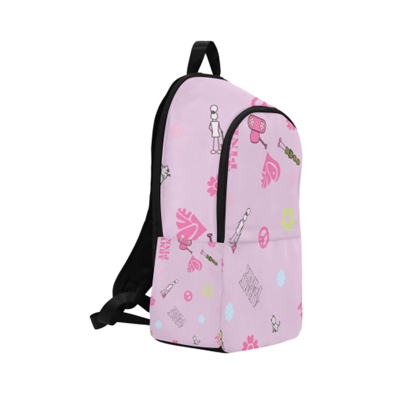 Pink logo print Fabric Backpack for  at ARMY PINK