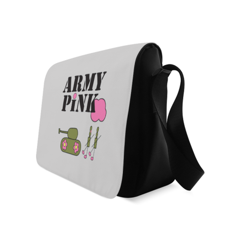 Logo on gray Messenger Bag for  at ARMY PINK