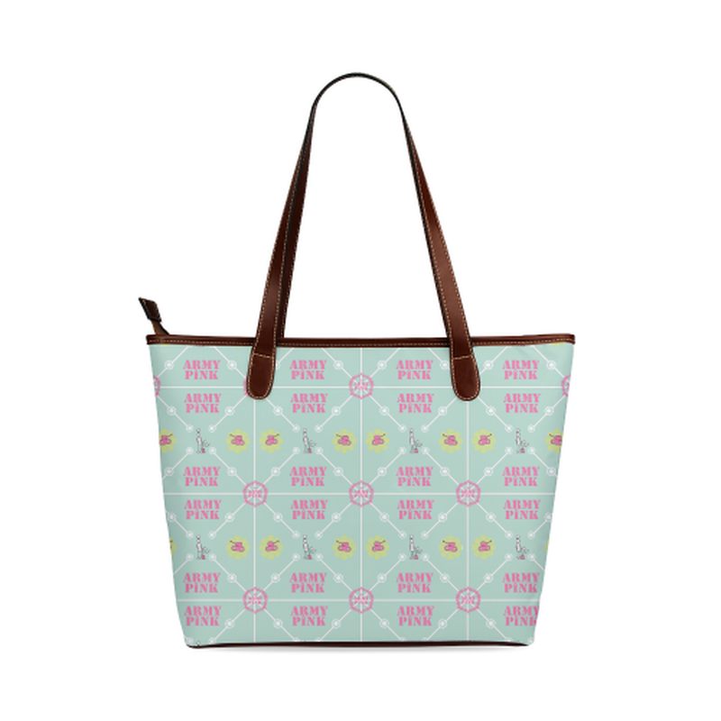 Diamond logo pattern on mint Shoulder Tote Bag (Model 1646) ${product-type) ${shop-name)