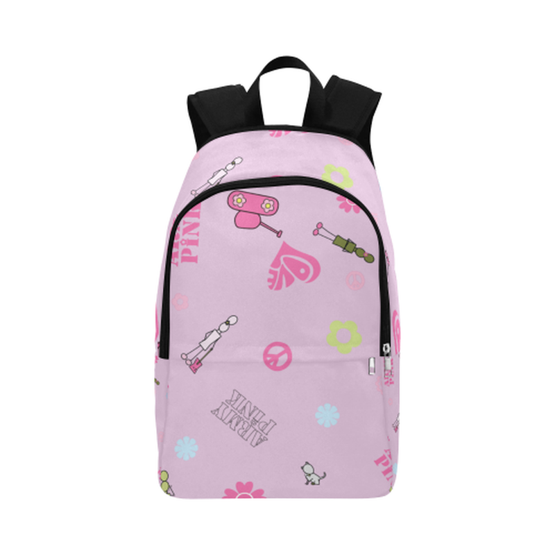 Pink logo print Fabric Backpack ${product-type) ${shop-name)