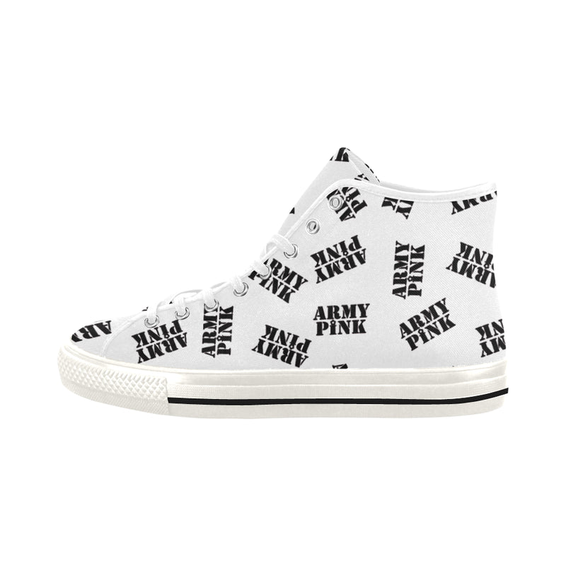 White Stamp Hi Top Canvas Shoes for 49.00 at ARMY PINK