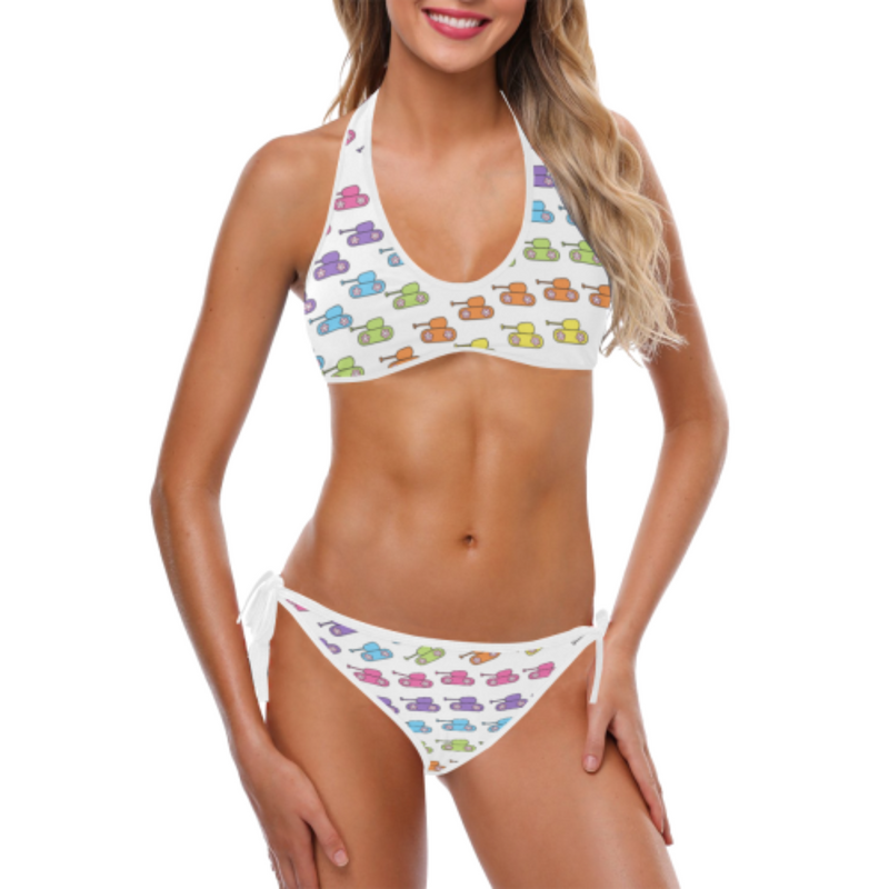 Bright rainbow tank white Halter & Side Tie Bikini Swimsuit for 32.00 at ARMY PINK