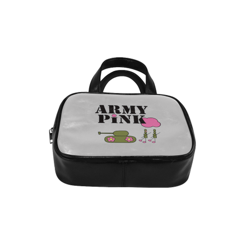 Logo on gray Leather Top Handle Handbag (Model 1662) for  at ARMY PINK