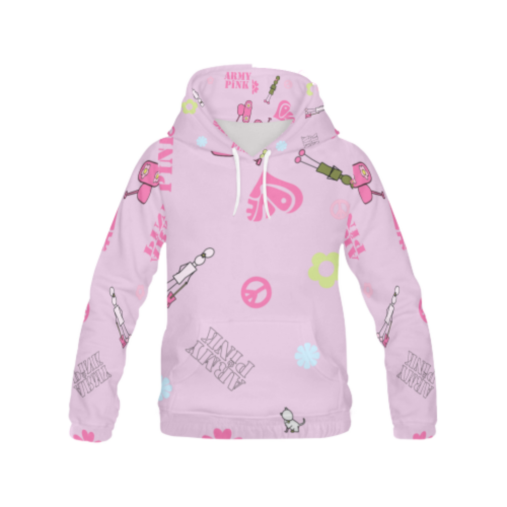 Logos on pink All Over Print Hoodie for 40.00 at ARMY PINK