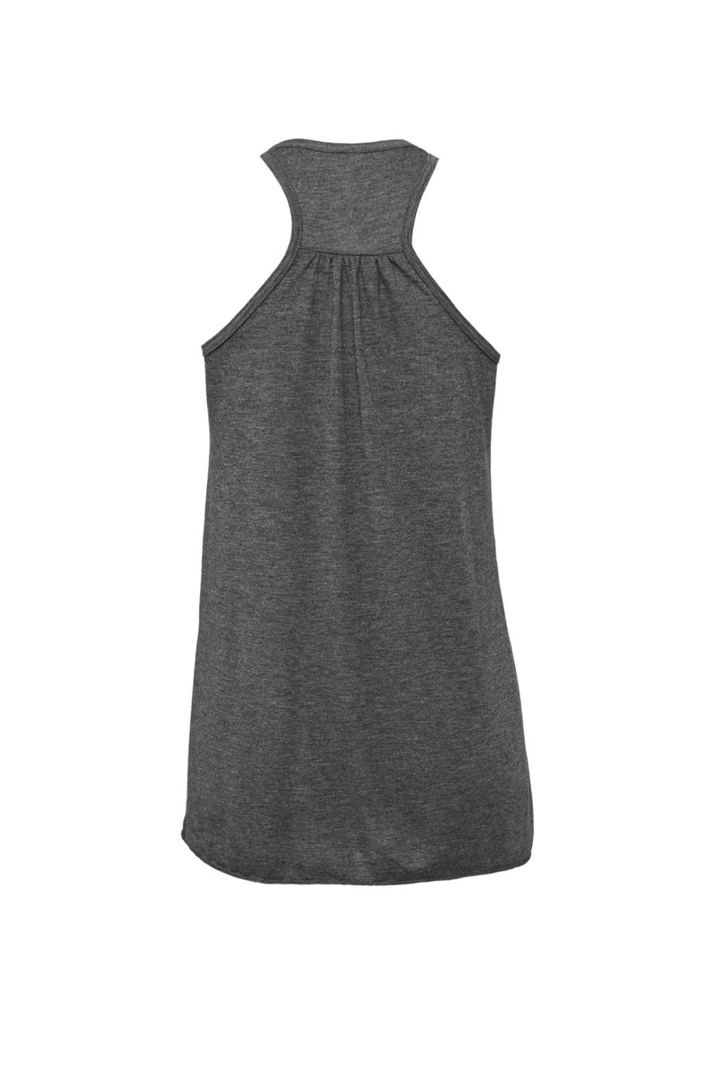Dark Gray Heather Flowy Racerback Tank with blue wreath graphic for 34.00 at ARMY PINK