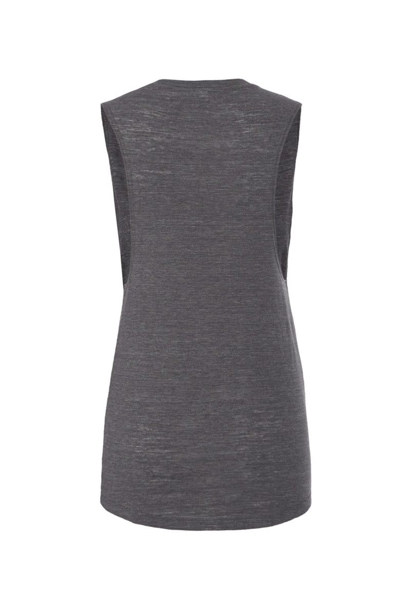 Dark Gray Heather Scoop Muscle Tank with blue peacekeeper graphic for 36.00 at ARMY PINK