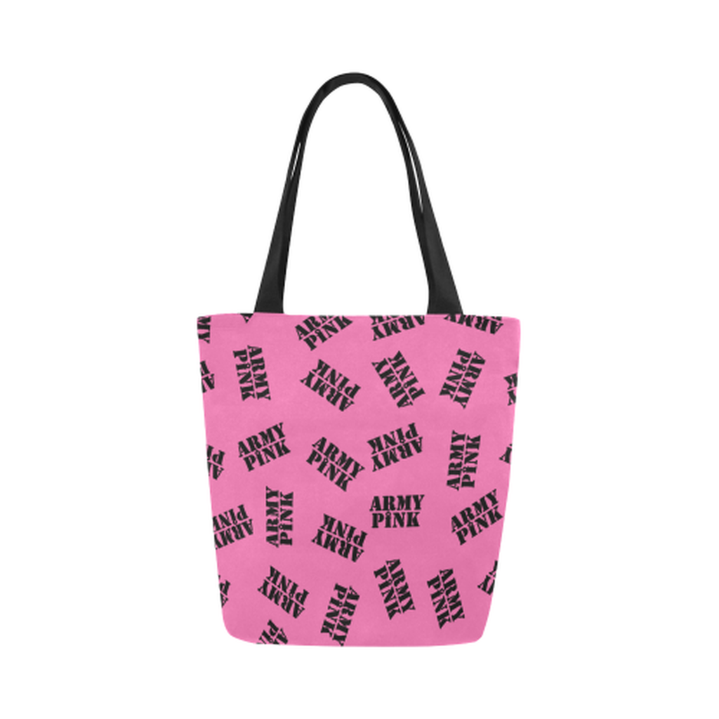 Pink black stamp Canvas Tote Bag for  at ARMY PINK