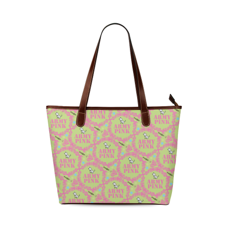 Pink wreaths on green Shoulder Tote Bag (Model 1646) for  at ARMY PINK