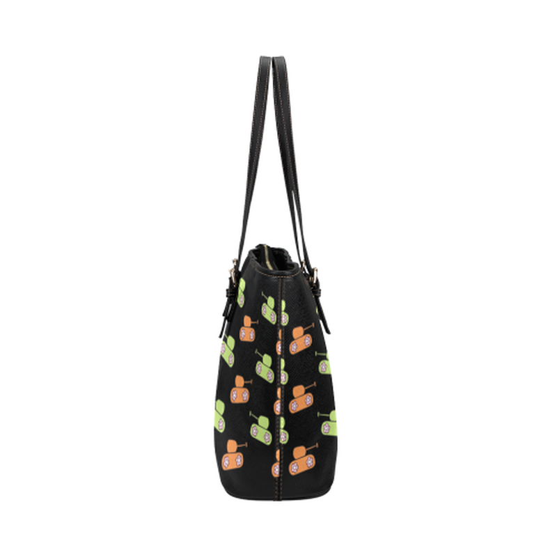 Orange and green tank print on black Leather Tote Bag/Small (Model 1651) for  at ARMY PINK