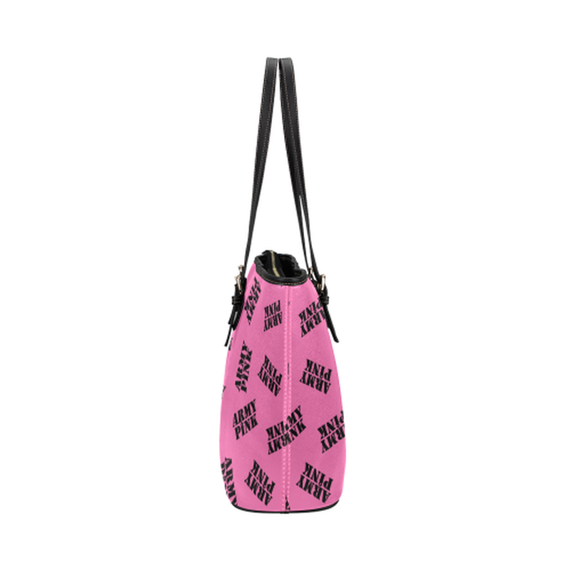 Pink black stamp leather Tote Bag ${product-type) ${shop-name)