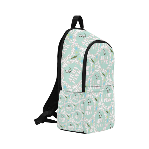 White wreaths on mint Fabric Backpack for  at ARMY PINK