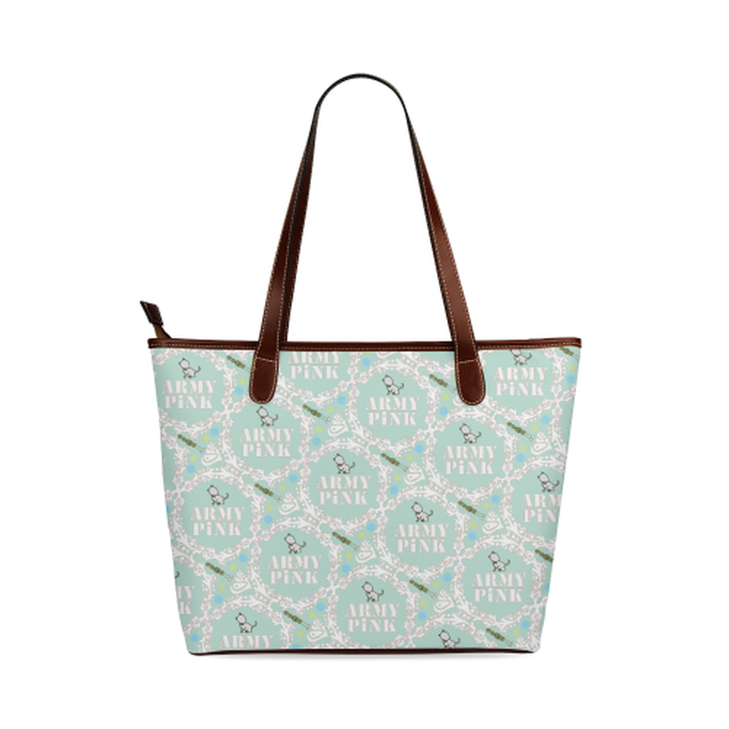 White wreath on mint Shoulder Tote Bag (Model 1646) for  at ARMY PINK