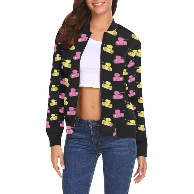 Pink/yellow tank print Bomber Jacket for 55.00 at ARMY PINK