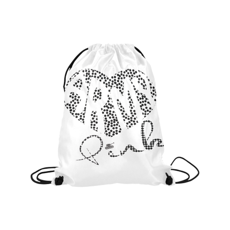 "Black dot heart Medium Drawstring Bag Model 1604 (Twin Sides) 13.8""(W) * 18.1""(H) for  at ARMY PINK"