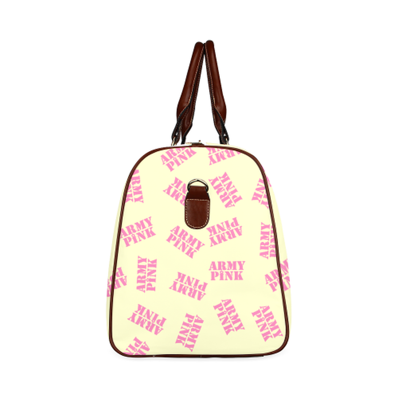 small travel pink stamp on yellow Waterproof Travel Bag/Small (Model 1639) for  at ARMY PINK