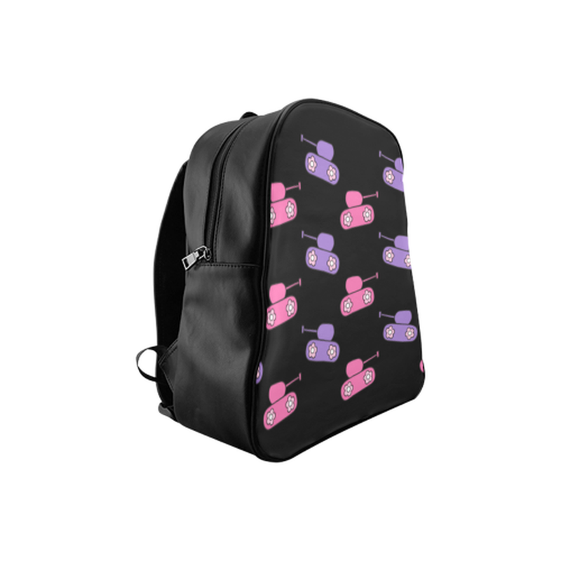 Pink and purple tank pattern on black School Backpack (Model 1601)(Medium) for  at ARMY PINK