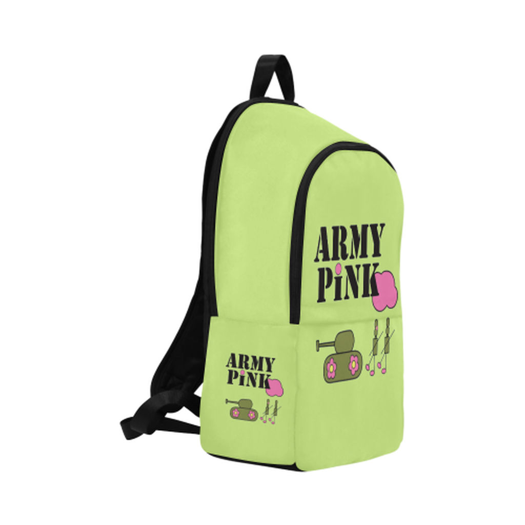 Green logo Fabric Backpack for  at ARMY PINK