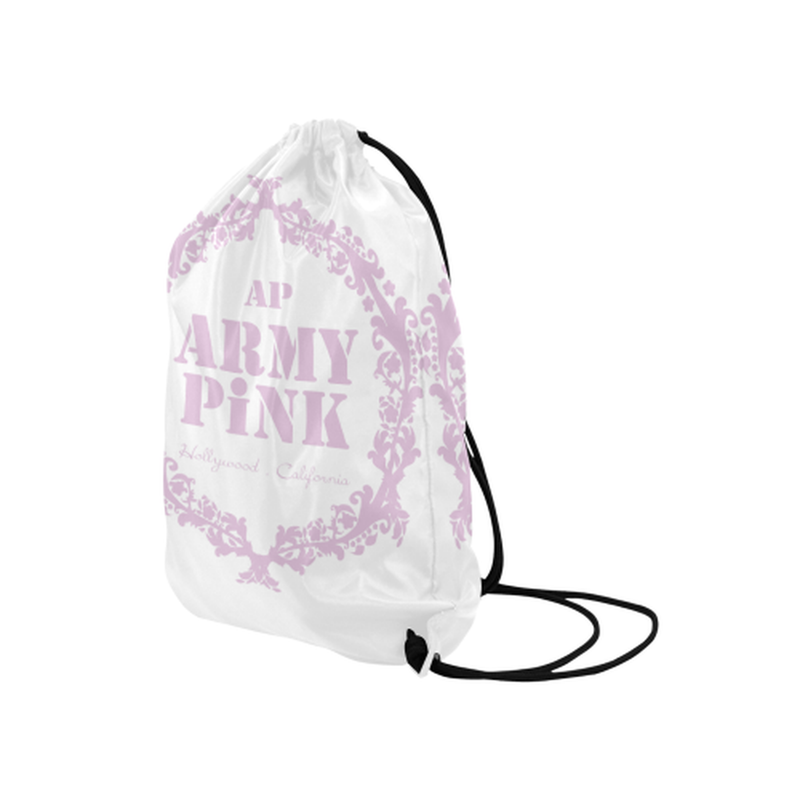 "Pink wreath on white Medium Drawstring Bag Model 1604 (Twin Sides) 13.8""(W) * 18.1""(H) for  at ARMY PINK"
