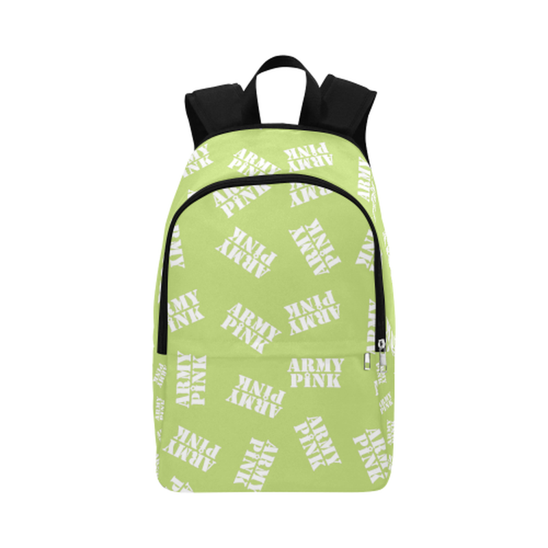 White stamps on green Fabric Backpack for  at ARMY PINK