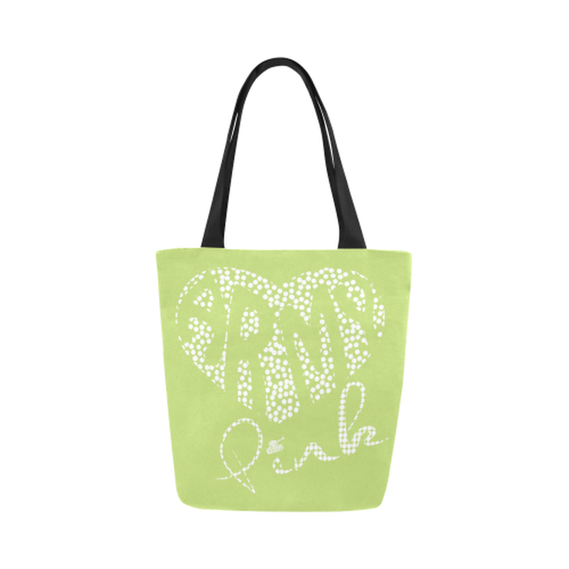 Green dot heart Canvas Tote Bag for  at ARMY PINK