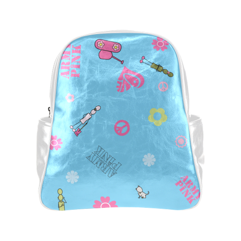 Logo print on blue Multi-Pockets Backpack (Model 1636) for  at ARMY PINK